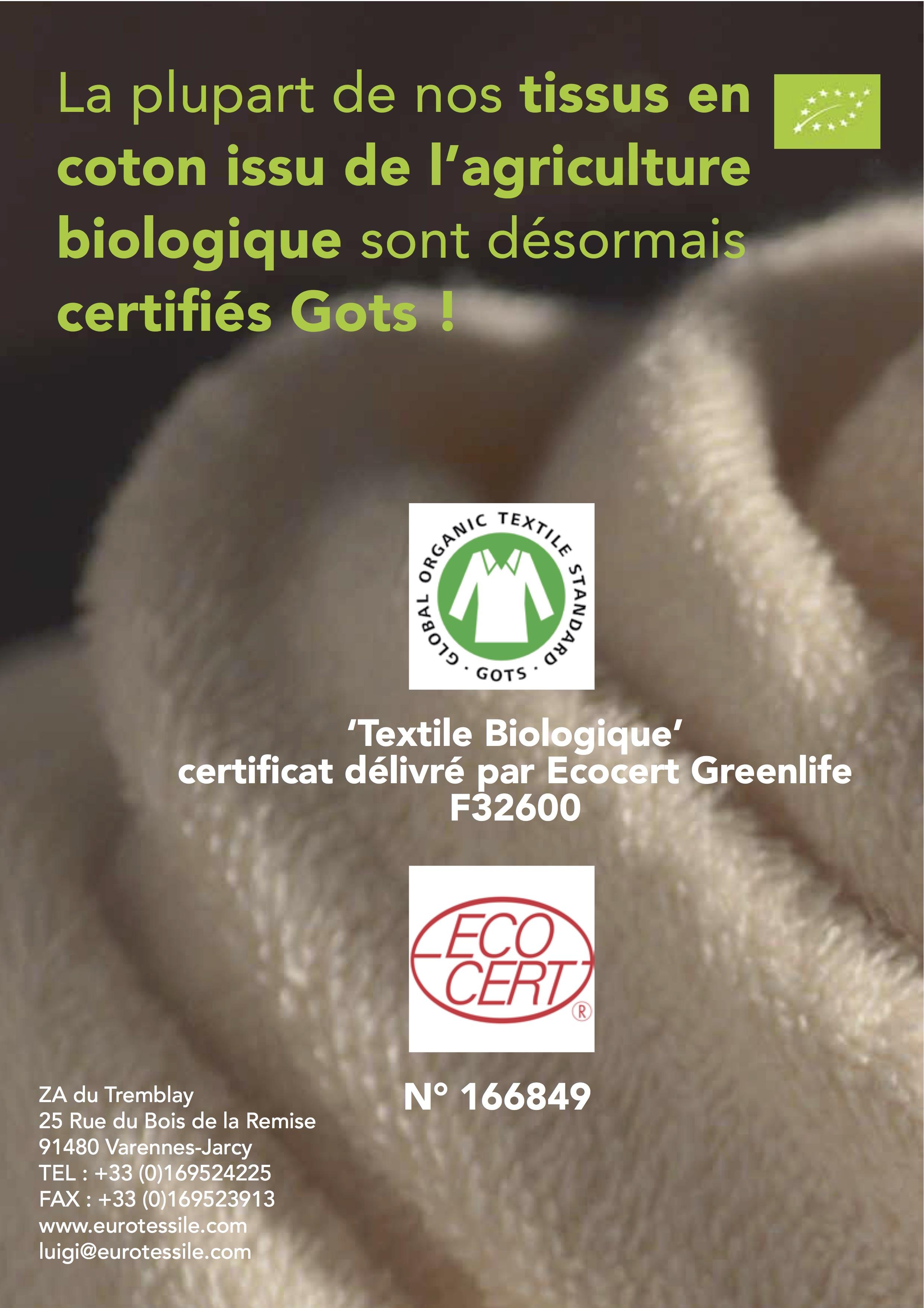 La Plupart De Nos Tissus En Coton Issu De L'agriculture Biologique Sont Désormais Certifiés Gots !