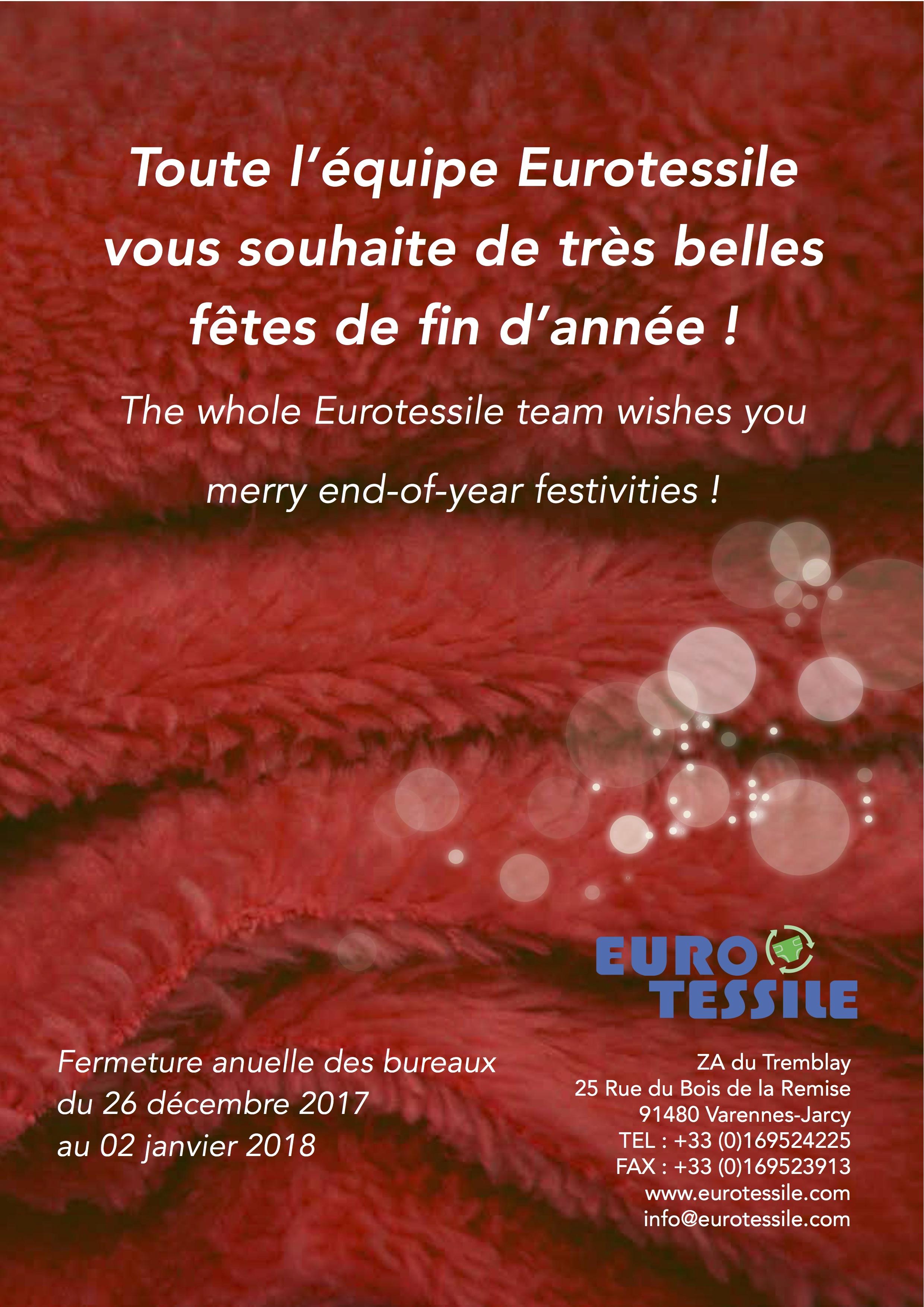 [12.2017] Eurotessile Vous Souhaite De Belles Fêtes De Fin D'année !
